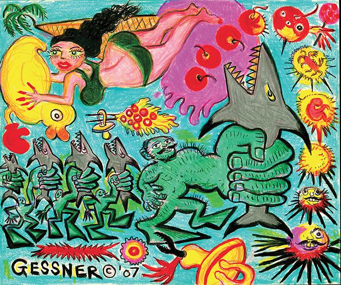 "Richard Gessner -""Morphing Strongmen"" color pencil & pilot pen on archival acid free paper."