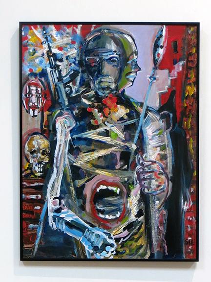 "Steven Epstein- ""The Warrior's Bin"" ,  Acrylic on  Hardboard"