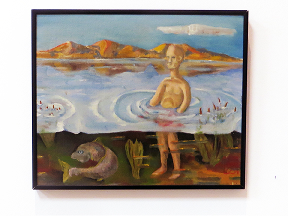 "Peter Arakawa – ""Man and Carp"" oil on canvas board"