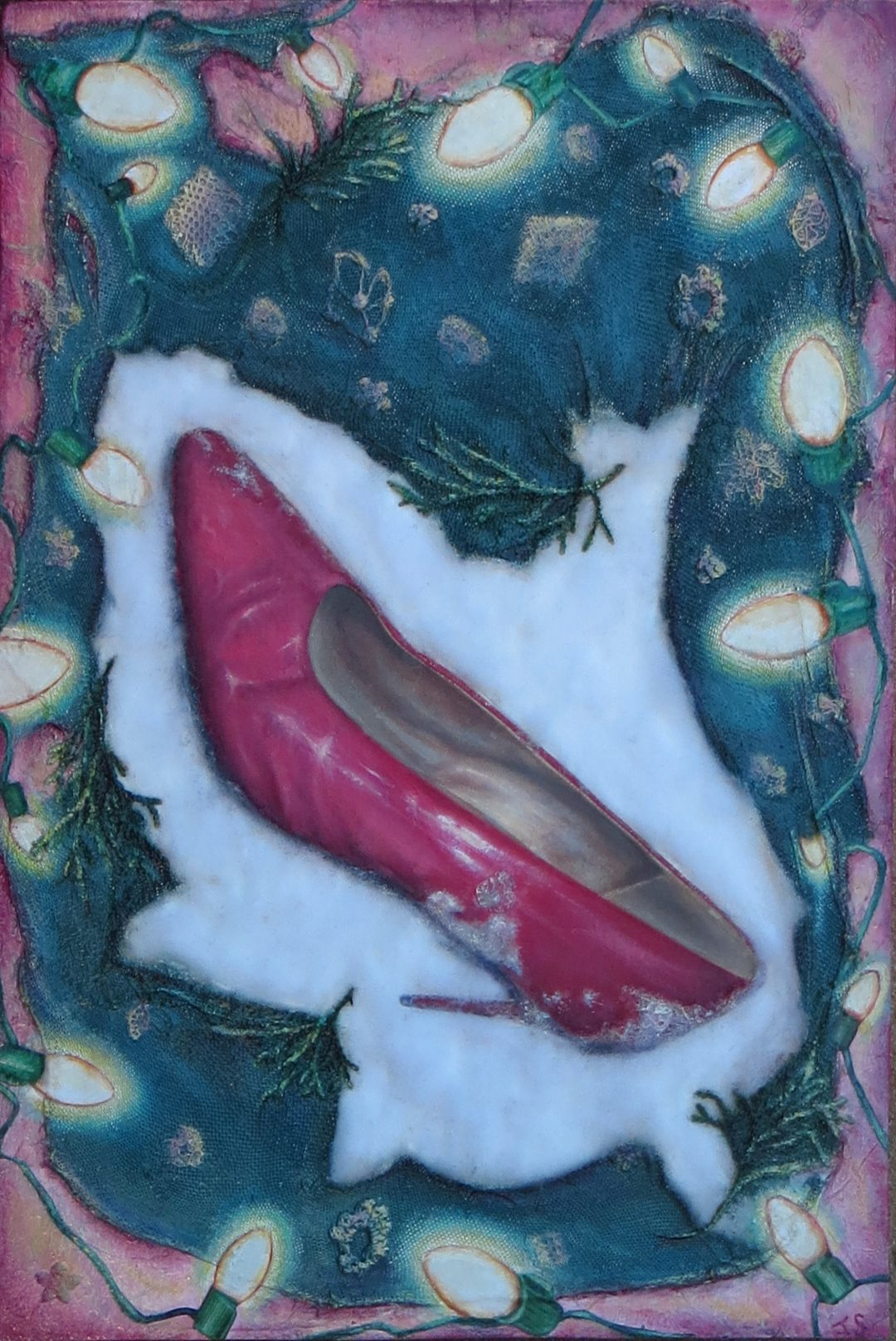 """Holiday Pink"" – 15″ W x 22″ L – collage and oil on panel with paper, fabric, tissues, fiber fill, crocheted lace, cypress cuttings"