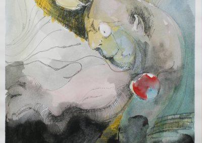 """Juan Ramiro Torres -""""Inside Demon"""" gouache and ink on paper"""