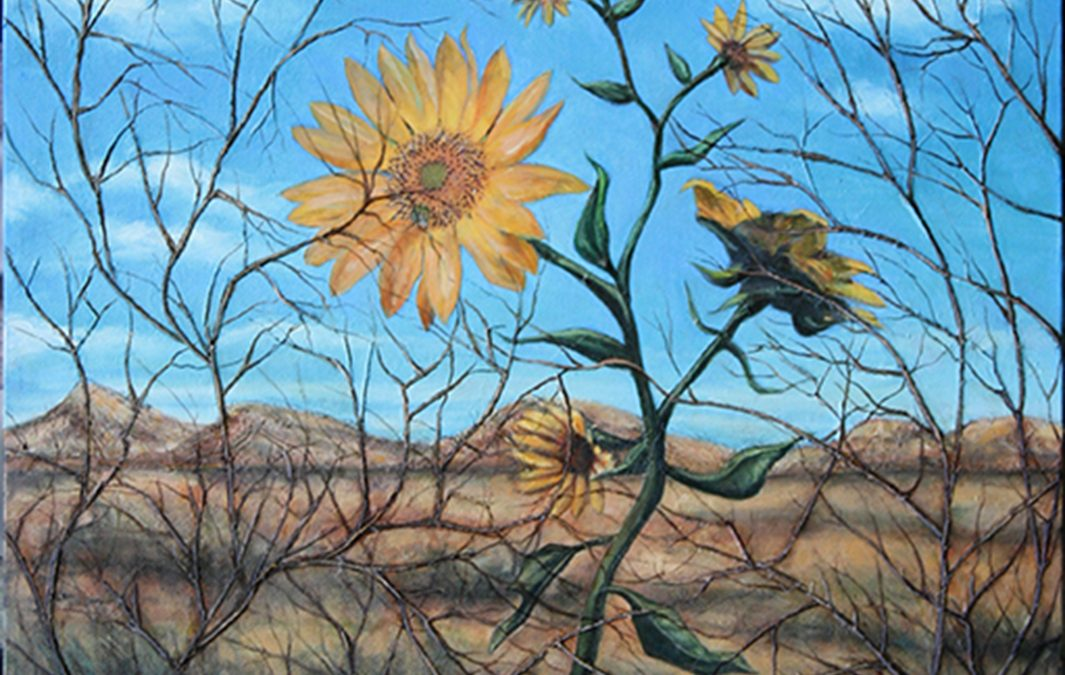 """Garden Series – """"Desert Helianthus""""  – collage on canvas, with magazine clippings, twigs, gauze, paper and oil – 18″W x 24″ H"""