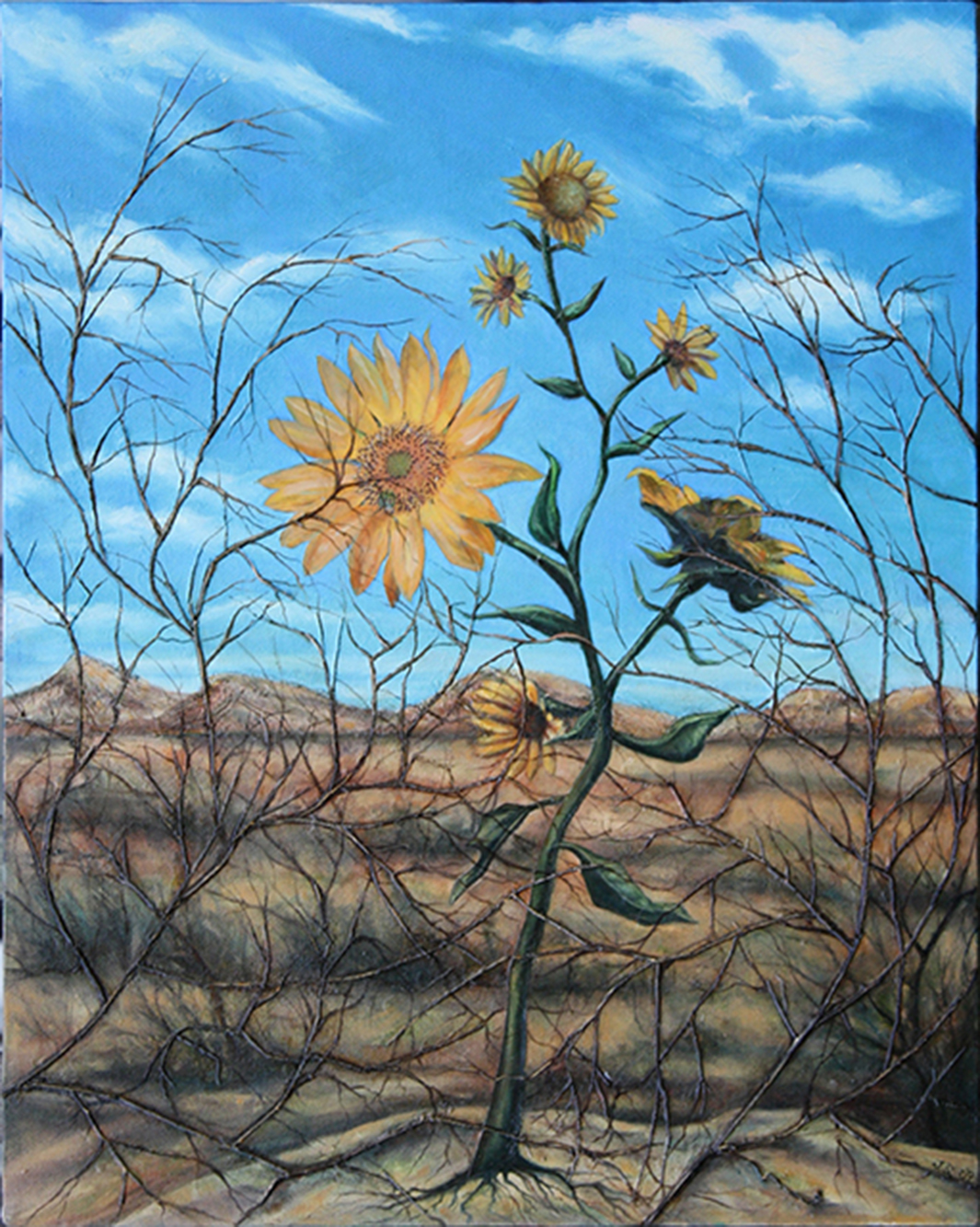 "Garden Series – ""Desert Helianthus""  – collage on canvas, with magazine clippings, twigs, gauze, paper and oil – 18″W x 24″ H"