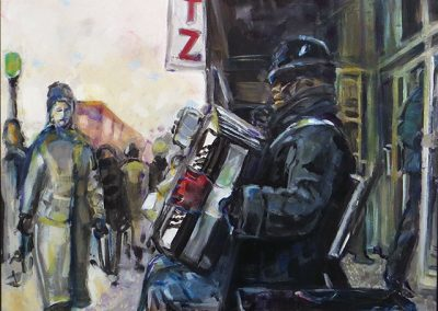 "Steven Epstein-Accordion Player in the Cold"" acrylic on hardboard"