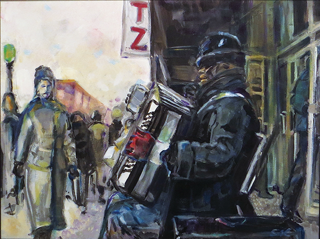 "Steven Epstein – ""Accordion Player in the Cold"" acrylic on hardboard"