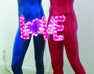 "Fred Cole -""Adam and Steve"" found mannequins and Love sign"