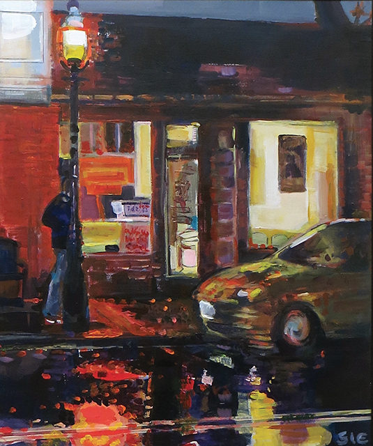 "Steven Epstein -""Another Wet Night on Main"" acrylic on hardboard"