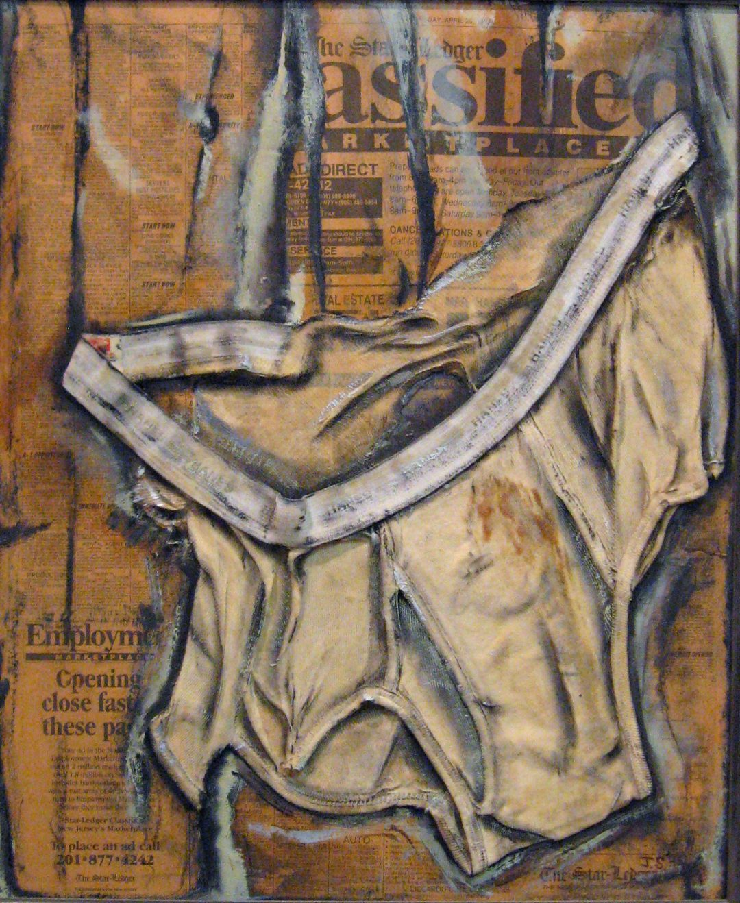Assified – collage on canvas with men's briefs, job ads, oil paint – 18″ W x 22″ H
