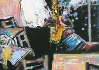 "Steven Epstein -""CoffeeShop Jazz"" acrylic news print decal on hardboard"