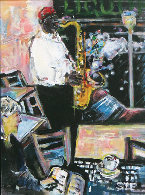 "Steven Epstein-""CoffeeShop Jazz"" acrylic news print decal on hardboard"