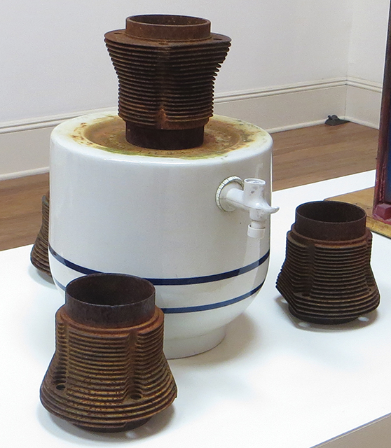 """Fred Cole """"Corrosive Elements"""" recycled ceramic water receptacle, engine cylinder heads"""