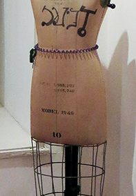 "Fred Cole ""Jeannie"" dress maker's mannequin, electric cord light, street lamp lens"