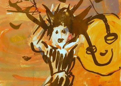 "Rita Herzfeld – ""Lunar Lunacy"" acrylic on paper"