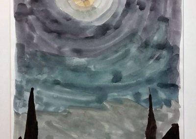 "Thomas Hemmerick -""Moon Rise"" watercolor on paper"
