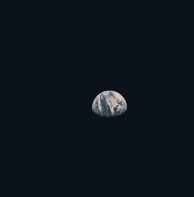 """From the private collection of Donald Lokuta:   Apollo 11 """"Earth During Translunar Coast Using 250mm Lens""""  – NASA AS11365401"""