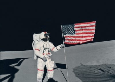 """From the private collection of Donald Lokuta:   """"Commander Shepard on Lunar Surface From Lunar Module"""" – NWNASA AS14669231"""