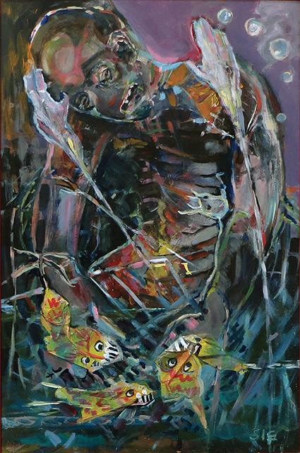 "Steven Epstein-""Nether Fish Gnaw Flesh"" acrylic, newsprint on hardboard"