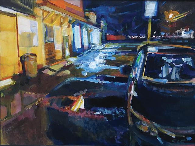 """Steven Epstein -""""On Rt. One"""" acrylic on hardboard"""