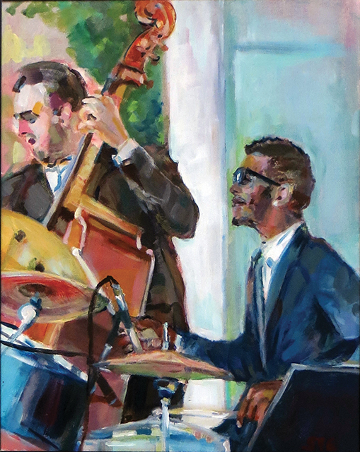 "Steven Epstein -""Outdoor Jazz"" acrylic on hardboard"