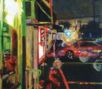 "Steven Epstein -""Strip Mall Wet Night"" acrylic on canvas"