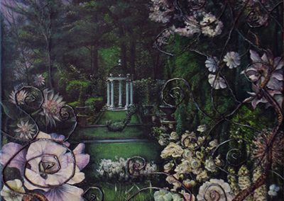 "Garden Series – ""The Dark Garden""  – collage on canvas with magazine clippings, twigs, snake skin and oil – 19″ W x 24″ H"
