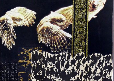 "E. Carol O'Neill -""Owls Wax and Owls Wane"" mix media collage"