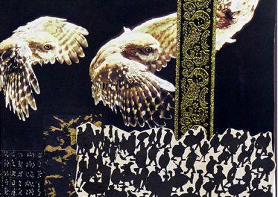 """E. Carol O'Neill -""""Owls Wax and Owls Wane"""" mix media collage"""