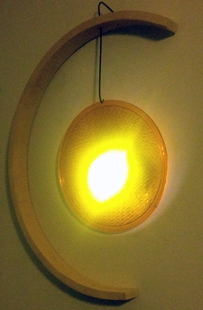 "Fred Cole – ""Due Lune con Luce"" recycled wood, metal and plastic lens, closet light"