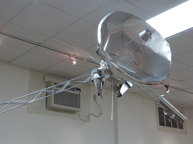 "Jeremy Munson - ""Hermit Satellite"" sculpture aluminum and mylar"