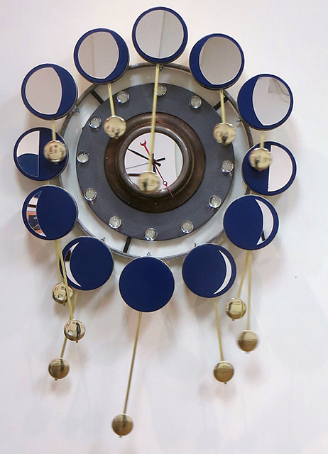 "Randall Cleaver -""Moon Days Times 2"" cookie tins, bike rim, metal plate, grill pan, plastic balls, ""L"" brackets, brass plumbing part, new pendulum and clock movements"