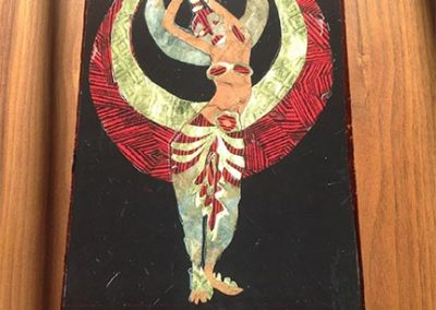 "Sam Caponegro – ""Moon Dancer"" cut paper, glue, cigar box, resin"