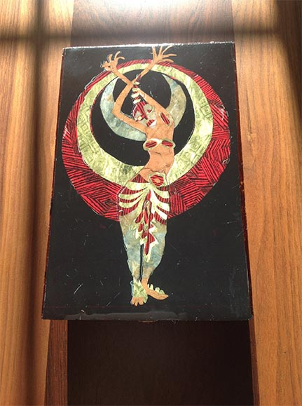 "Sam Caponegro – ""Moon Dancer"" cut paper, glue, cigar box, resin"