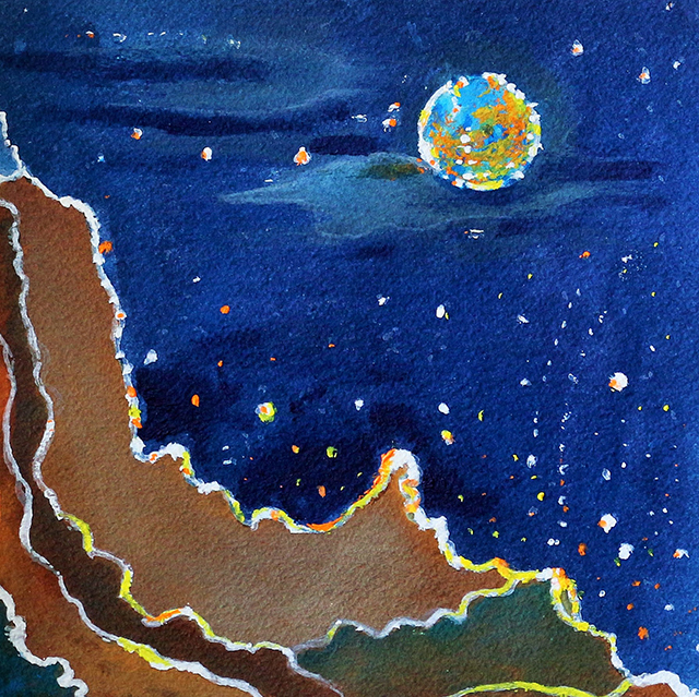 "Edward Jean Baptiste – ""Full Moon"" mixed media, non silver and acrylic on paper"