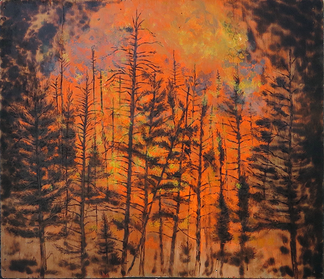 "Brian McCormack ""Forest A-Blaze"" torch, pyro detailer, paint on scrap wood"