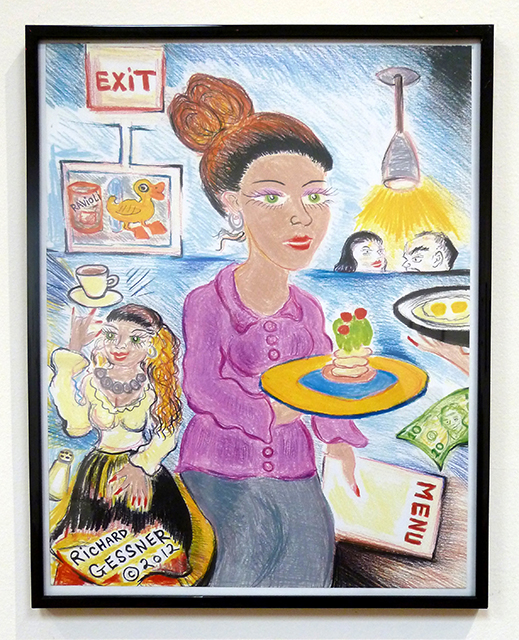 "Richard Gessner ""Jersey Waitres"" print of colored pencil drawing"