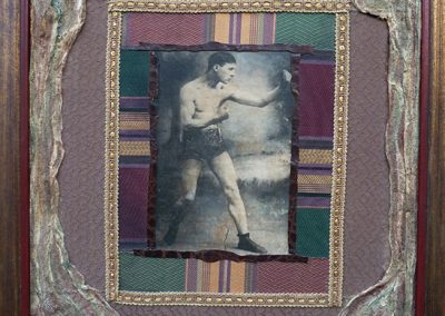 """The Boxer"" – collage on canvas with halftone print, colored pencil, fabric, leather, gauze and oil paint 23″ W x 28″"" H"