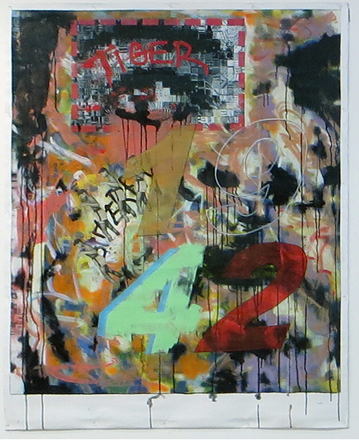 "Jerome Gonzalez ""Born"" acrylic and newspaper on canvas,  $800.00 or best offer"