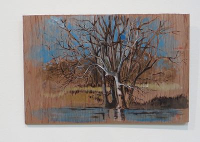 "Brian McCormack ""Dead Sycamore on the Raritan-1"" pyro detailer, paint on scrap wood"
