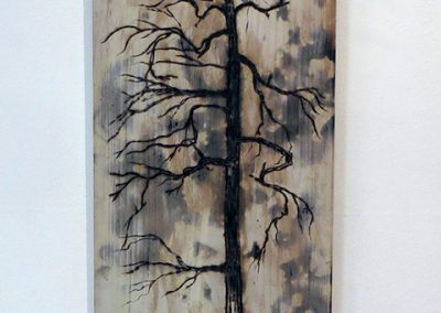 "Brian McCormack   ""Scorched Tree""  torch, pyro detailer on scrap wood"