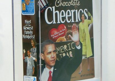 "Luis Alves ""Chocolate Cheerios"" hand made collage on 3D cereal box, $450.00"
