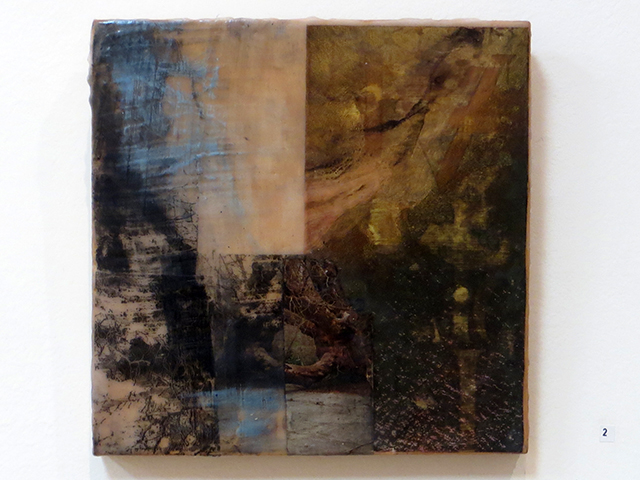 "Kelly Clark   ""Untitled""  mixed media, wax, collage, xerox transfer and oil stick"
