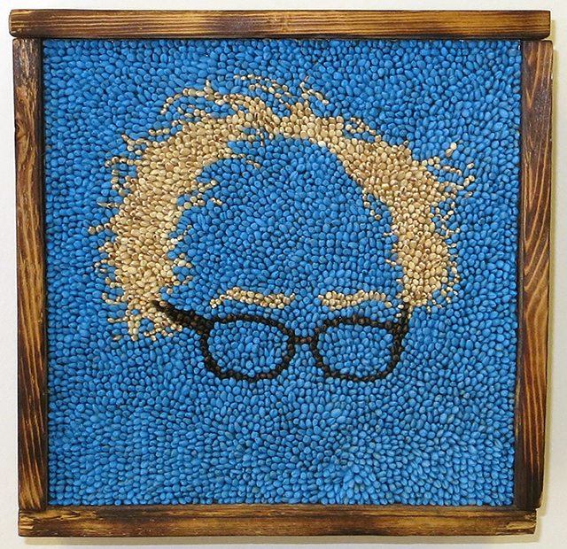 "Abby Elizabeth Schmidt ""Feel the Bern"" Barley and spray paint on wood, SOLD"