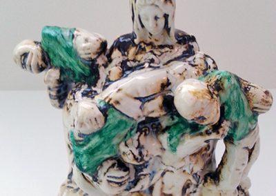 "Kelly Clark   ""Hail Mary""  sculpture: clay with glaze and acrylic paint"