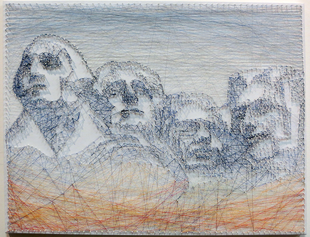 "Poramit Thantapalit  ""Headline"" string art made of sewing thread wrapped through nails on board,  $500.00"