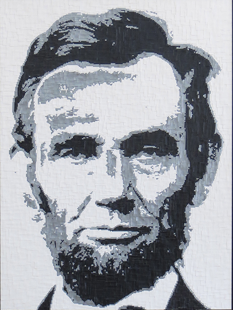 "Kerry Mott ""Honest Abe"" many pieces of duct tape, $750.00"