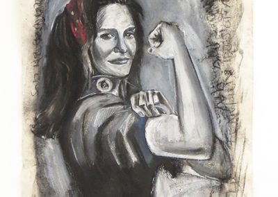 "Devon Reiffer  ""We Can Do it Jenner""  charcoal, gesso, and pastel on raw canvas,  $2,000.00"