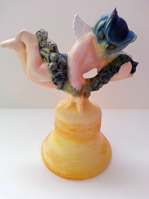 "Kelly Clark ""Untitled""sculpture (Liberty Bell, owl head-cherub ) clay with glaze and acrylic paint"