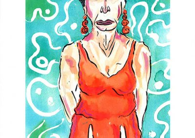 """Sam Caponegro """"Cabana Lady"""" print of watercolor and ink on paper"""