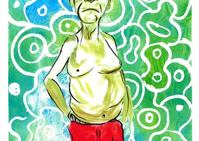 "Sam Caponegro ""Pop"" print of watercolor and ink on paper"
