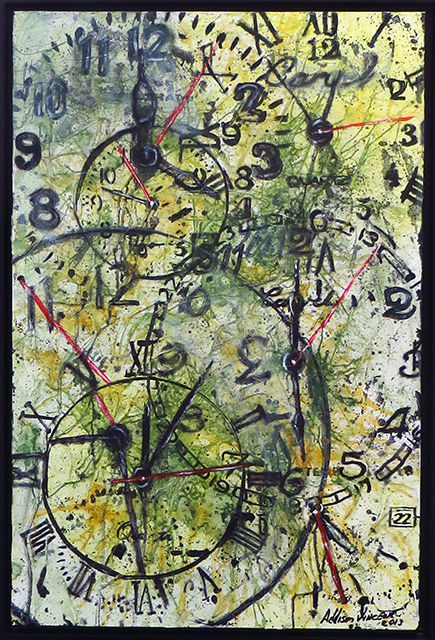 "Addison Vincent ""Time is Fleeting"" acrylic, ink, modeling paste and acrylic gel medium on canvas"